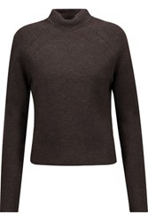 Jason Wu Cropped Ribbed Wool Blend Turtleneck Sweater Dark Brown