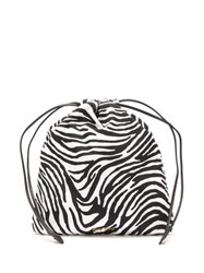 Miu Miu Zebra Print Drawstring Wash Bag Black Multi