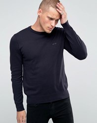 Armani Jeans Jumper With Crew Neck And Logo In Navy Navy