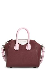 Givenchy Mini Antigona Leather Top Handle Satchel Red Burgundy Pink