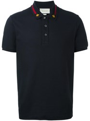 Gucci House Web Embroidered Polo Shirt Blue