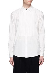 The Viridi Anne Frayed Pinstripe Bib Cotton Poplin Shirt White