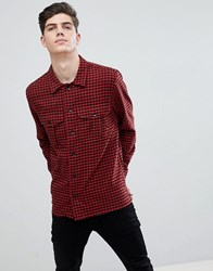 Mango Man Regular Fit Check Flannel Shirt In Red