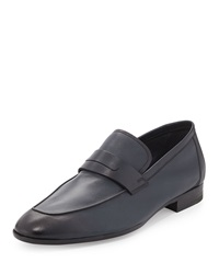Lorenzo Calfskin Leather Loafer Navy Berluti