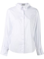 Balossa White Shirt Long Sleeve Women Cotton Spandex Elastane Polyimide 42 White