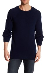 Billy Reid Directional Crew Neck Cashmere Sweater Blue