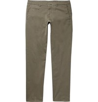 Altea Slim Fit Tapered Stretch Cotton Twill Trousers Army Green
