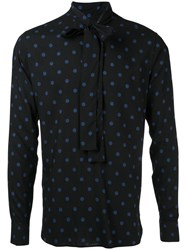 Saint Laurent Dot Print Shirt Men Viscose 39 Black