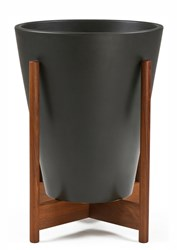 Modernica Case Study Ceramic Funnel Planter With Wood Stand Charcoal Small Black