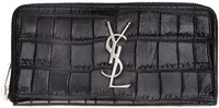 Saint Laurent Black Croc Embossed Continental Wallet