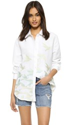 Mara Hoffman Birds Embroidered Button Down Blouse White Multi