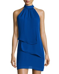 Laundry By Shelli Segal Tiered Sleeveless Halter Dress Blue Beret