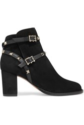 Valentino Rockstud Leather Trimmed Suede Ankle Boots Black