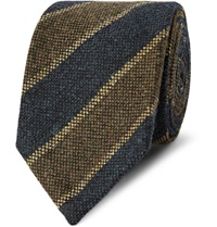 Dunhill Striped Woven Wool Tie Blue