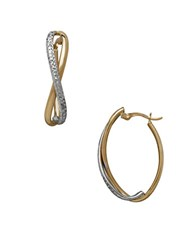 Lord And Taylor Gold Rush 14K Two Toned Gold Oval Curve Hoop Earrings