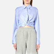 Alexander Wang T By Women's Cotton Twill Twist Front Long Sleeve Shirt Chambray Blue