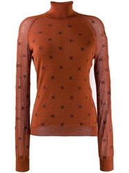 Fendi Roll Neck Ff Sweater Orange