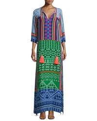 Hemant And Nandita 3 4 Sleeve Multi Print Maxi Caftan Multi Colors