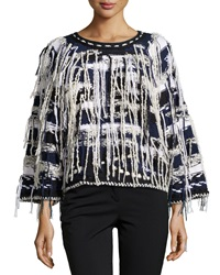 Oscar De La Renta Fringed Stripe Crop Sweater Navy White Black