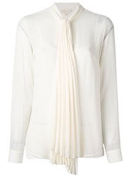 Michael Michael Kors Pleated Pussy Bow Blouse Nude And Neutrals