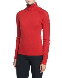 Milly Detailed Long Sleeve Turtleneck Red