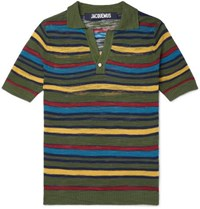 Jacquemus Slim Fit Striped Knitted Cotton Blend Polo Shirt Green