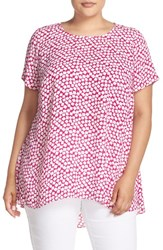 Vince Camuto Plus Size Women's 'Falling Cubes' Print Short Sleeve High Low Blouse