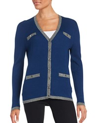 Karl Lagerfeld Ribbed Button Front Cardigan Atlantic
