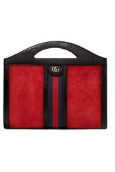 Gucci Ophidia Medium Patent Leather Trimmed Suede Tote Red Gbp