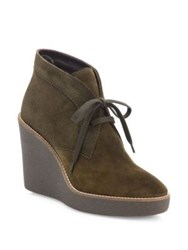 Aquatalia By Marvin K Vianna Suede Wedge Booties Herb Black