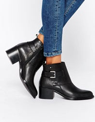 Warehouse Leather Buckle Detail Ankle Boots Black