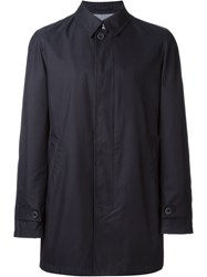 Herno Concealed Button Fastening Coat Blue