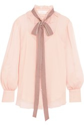 See By Chloe Velvet Trimmed Pussy Bow Ruffled Crepon Blouse Blush