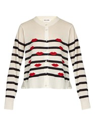 Muveil Lips Intarsia Contrast Panel Cardigan Navy White