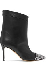 Alexandre Vauthier Cha Cha Crystal Embellished Leather Ankle Boots Black