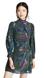 Tanya Taylor Clarisse Dress Decorative Floral Army Green