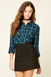 Forever 21 Snap Button Plaid Flannel Shirt
