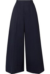 Marni Cotton And Linen Blend Twill Wide Leg Pants Navy
