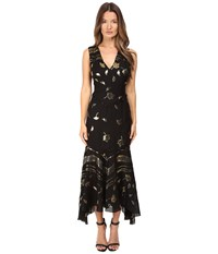 Prabal Gurung Sleeveless V Neck Chiffon Flounce Dress Black Gold