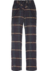 Etoile Isabel Marant Vernon Checked Cotton Gauze Straight Leg Pants Midnight Blue