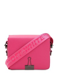 Off White Medium Flap Leather Shoulder Bag Fuchsia