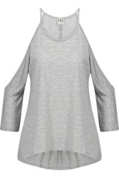 Haute Hippie Cold Shoulder Modal Jersey Top Light Gray