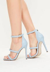Missguided Blue Faux Leather Three Strap Barely There Heels