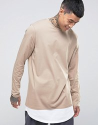 Asos Super Longline Long Sleeve T Shirt With Double Layer Curve Hem In Beige Silver White