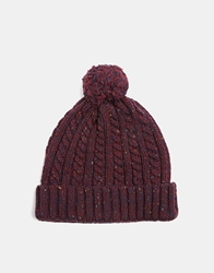 Asos Cable Bobble Beanie Burgundy