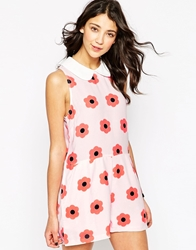 Daisy Street Floral Playsuit With Peter Pan Collar Pinkwhite