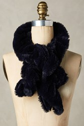 Anthropologie Crimped Faux Fur Stole Navy