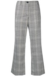 Aalto Cropped Checked Flared Trousers Grey