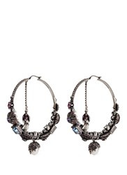 Alexander Mcqueen Swarovski Crystal Natural Pearl Creole Earrings Multi Colour