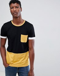 Tom Tailor Colour Block T Shirt With Tipped Sleeves Black
